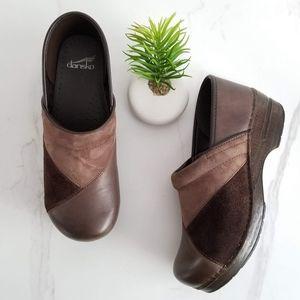 Dansko Patchwork Clogs Slip On Shoes Brown Leather